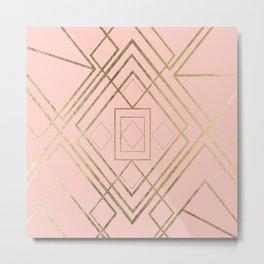 Modern coral faux leather faux gold geometrical pattern Metal Print