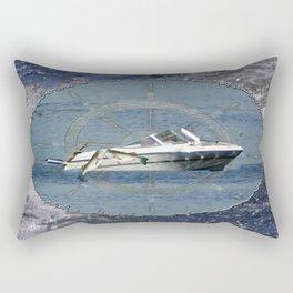 Nautical Boat Wheel Lake Waves Rectangular Pillow
