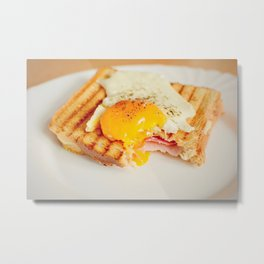 Toast with fried egg Metal Print