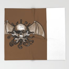 Airships and Tentacles SkullWheel Glyph Throw Blanket
