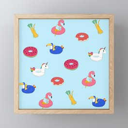 Summer pattern with cats playing in the pool Framed Mini Art Print