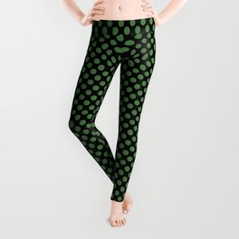 Black and Hippie Green Polka Dots Leggings