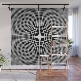 White On Black Convex Wall Mural
