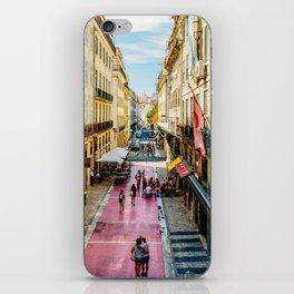 Beautiful Pink Street Downtown Lisbon City, Wall Art Print, Modern Architecture Art, Poster Decor iPhone Skin