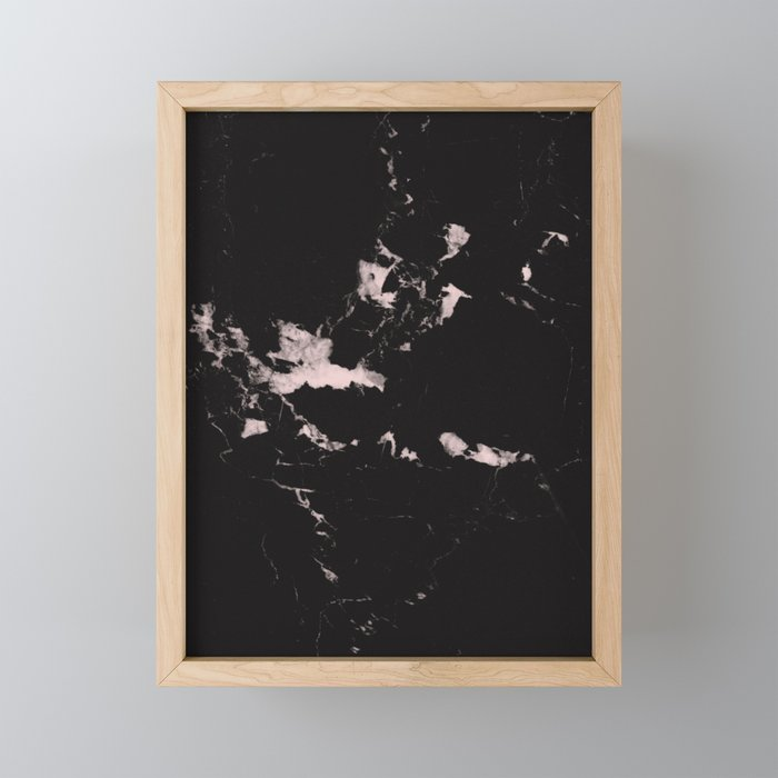 Black Marble and Blush Pink #1 #decor #art #society6 Framed Mini Art Print