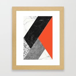 Black and White Marbles and Pantone Flame Color Framed Art Print