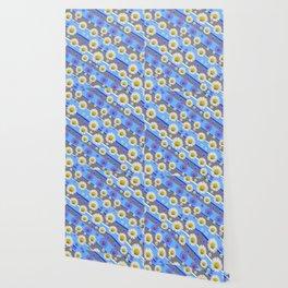 DECORATIVE DIAGONAL PATTERN BLUE MODERN ART WHITE SHASTA DAISIES Wallpaper