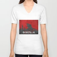 godzilla V-neck T-shirts featuring Godzilla by WatercolorGirlArt