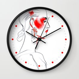fashion #38: girl with bright makeup Wall Clock