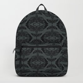 Moth Damask Black on Grey Backpack