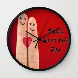 Happy Valentines Fingers Wall Clock