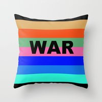 war Throw Pillows featuring WAR by Tillus