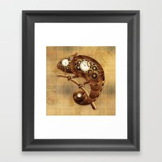 Steampunk Chameleon Vintage Style Framed Art Print