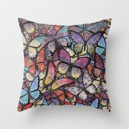 butterflies aflutter colorful version Throw Pillow