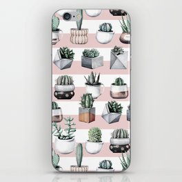 Potted Cactus Stripes Pink Rose Gold iPhone Skin