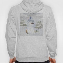 Winter Wonderland - Funny Snowman and friends - Watercolor illustration Hoody
