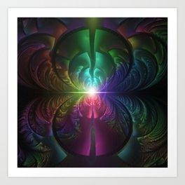 Anodized Rainbow Eyes and Metallic Fractal Flares Art Print