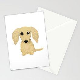 Longhaired Cream Dachshund Cartoon Dog Stationery Cards