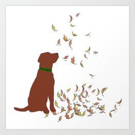 Brown Dog in Fall Leaves Art Print