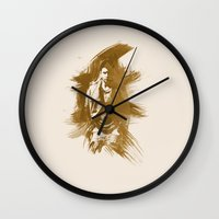 dean winchester Wall Clocks featuring Watercolor Dean Winchester by fairandbright