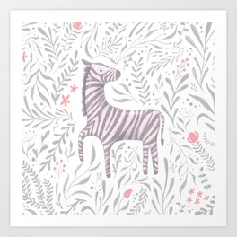 Zebra in Foliage Art Print