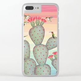 ruby throated hummingbirds & prickly pear cactus Clear iPhone Case