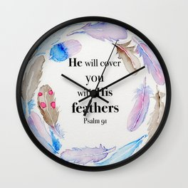 Psalm 91 Feathers Wall Clock