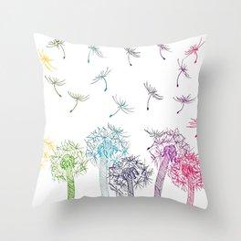 Rainbow dandelions Throw Pillow