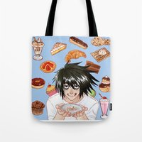 death note Tote Bags featuring L from Death Note by Naineuh