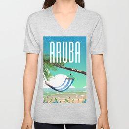 Aruba Hammock beach travel poster Unisex V-Neck