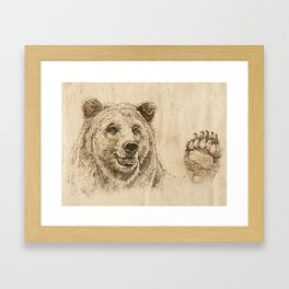 Grizzly Bear Greeting Framed Art Print