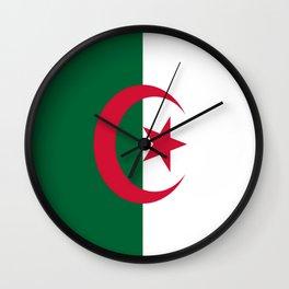 Flag of algeria -algerian,algiers,camus,chaabi,oran,constantine,Annaba. Wall Clock