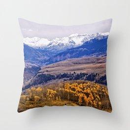 Mountain majesty and autumn gold Throw Pillow