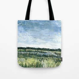Pallet Knife Painting of the Baker Wetlands with greens and blues. Tote Bag
