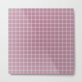 English lavender - violet color - White Lines Grid Pattern Metal Print