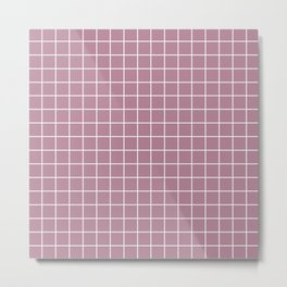 English lavender - violet color - White Lines Grid Pattern Metal Print