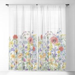 Colorful Midsummer Scandinavian Wildflowers Meadow  Sheer Curtain