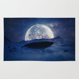 flying night whale Rug