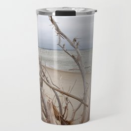 Driftwood, Cloudy Day on the Outer Banks Beach Travel Mug