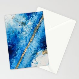Blue Skies [2]: a pretty, abstract mixed-media piece in blue, gold and white Stationery Cards