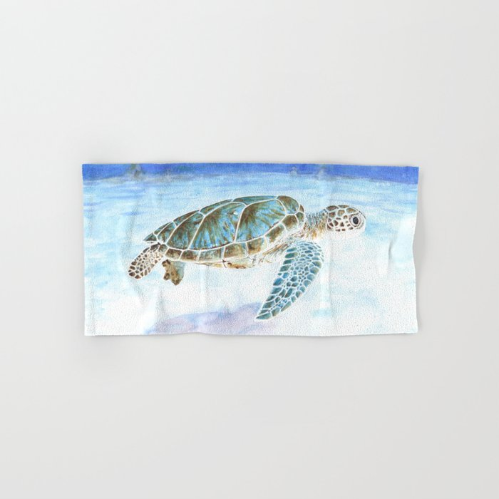 Sea turtle underwater Hand & Bath Towel