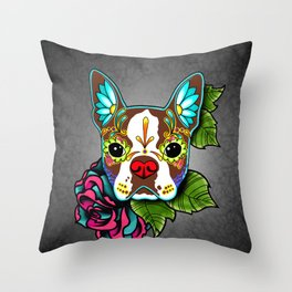 Boston Terrier in Red - Day of the Dead Sugar Skull Dog Throw Pillow