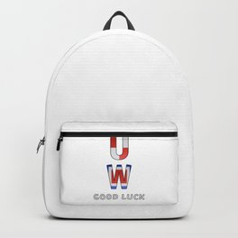 """U"" ""W"" Good Luck - Navy Alphabet - Leather Backpack"