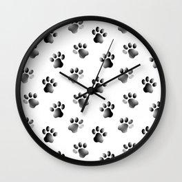 Cat Dog Animal Paw Prints Wall Clock