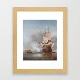 Man-Of-War Firing A Cannon Shot Framed Art Print