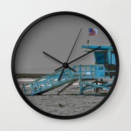 Lifeguard stand on Beach Wall Clock