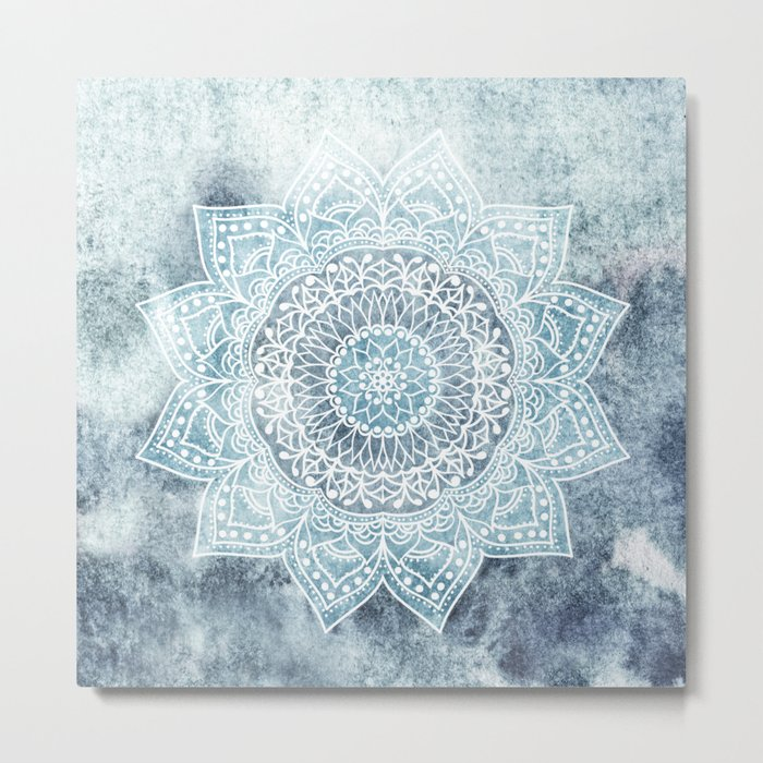 DEEP BLUE MANDALA Metal Print