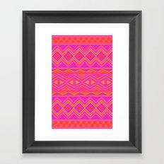 Tribal Pattern (Pink & Orange) Framed Art Print