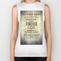scripture Biker Tanks featuring Imitation of Christ: Book 1 Chapter 5 Reading the Holy Scripture by Kahligraphy