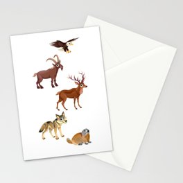 Funny animals in a mountain landscape Stationery Cards